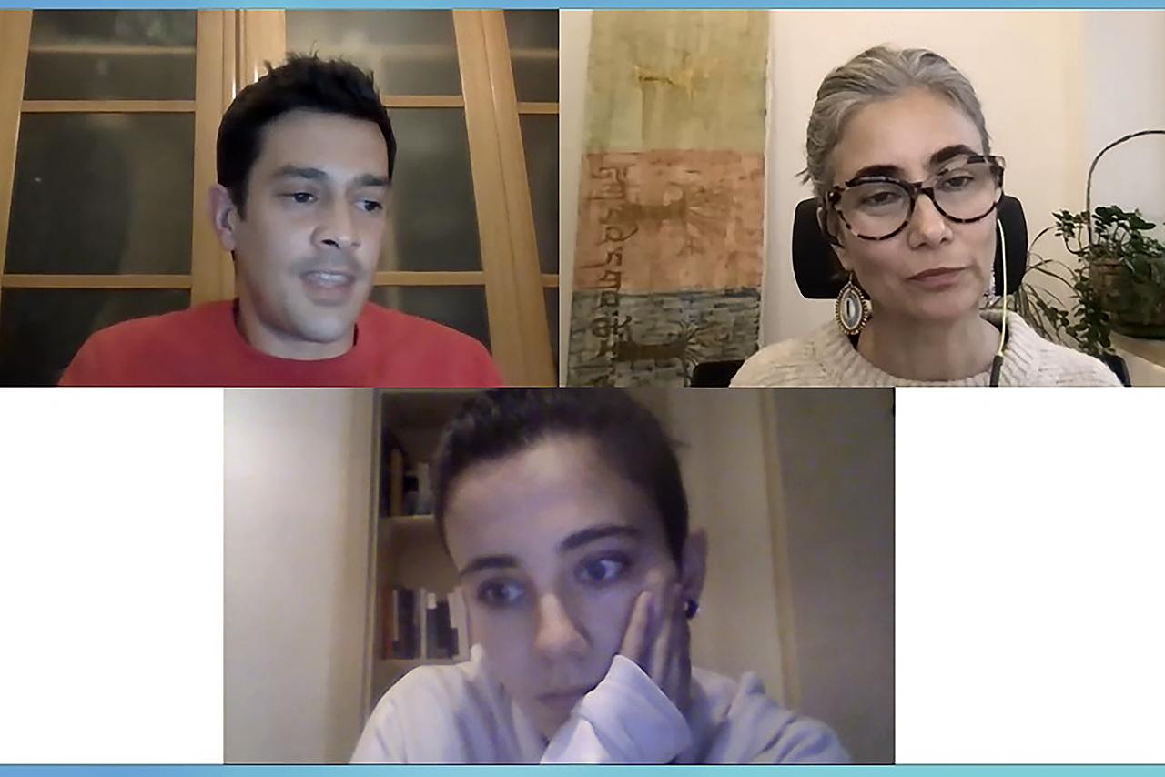 Ciro Cabal, Cristina Sánchez y Aurora de Castro, durante el último webinar de este año del ciclo La Biología en los Medios