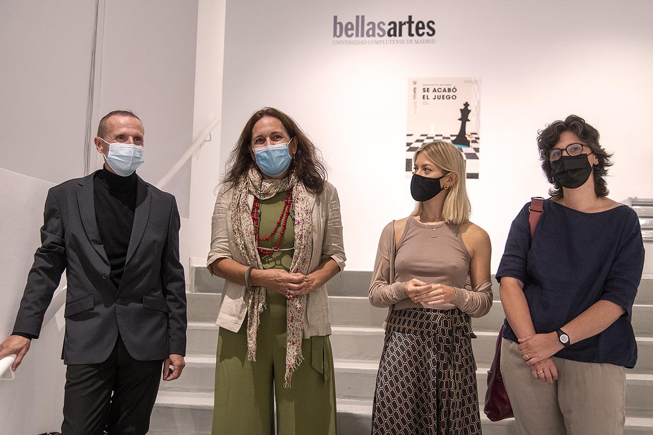 Luis Mayo, Elena Blanch, Inés Sánchez Pérez y Margarita González, en la inauguración de la muestra