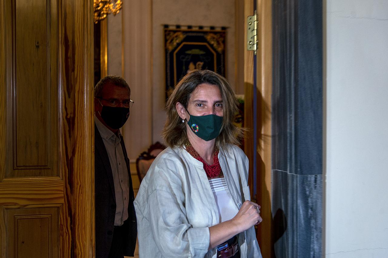 La ministra, a su llegada al RC María Cristina