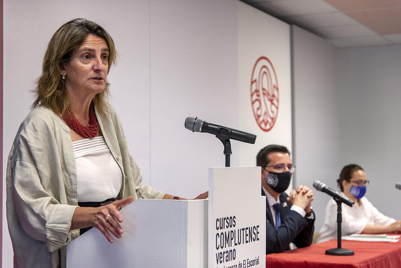 La vicepresidenta tercera, Teresa Ribera, durante su intervención