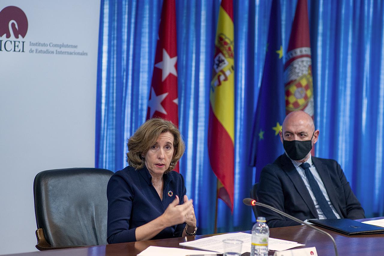"""La secretaria de Estado de Economía, Ana de la Cueva, pide en los """"Diálogos del ICEI"""" consenso para la ejecución del Plan de Recuperación"""