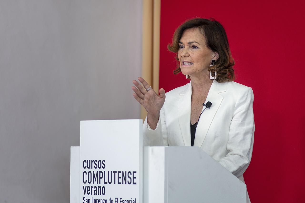 Carmen Calvo, durante su intervención