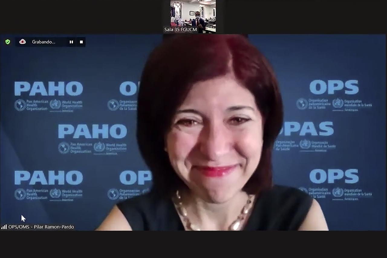 La doctora Ramón-Pardo intervino on line desde las cercanías de El Escorial, al estar en aislamiento por contacto estrecho con un caso de Covid