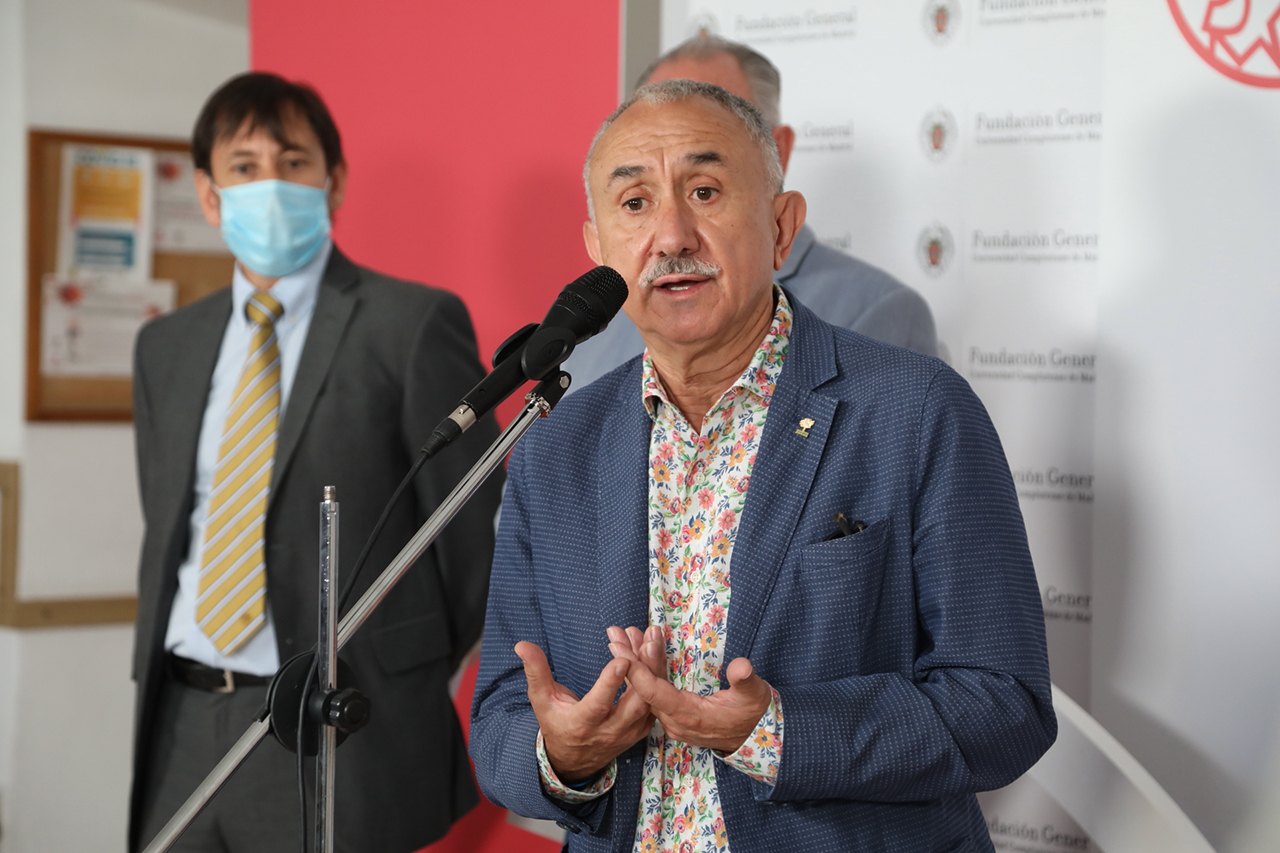 Pepe Álvarez, durante su comparecencia ante los medios de comunicación