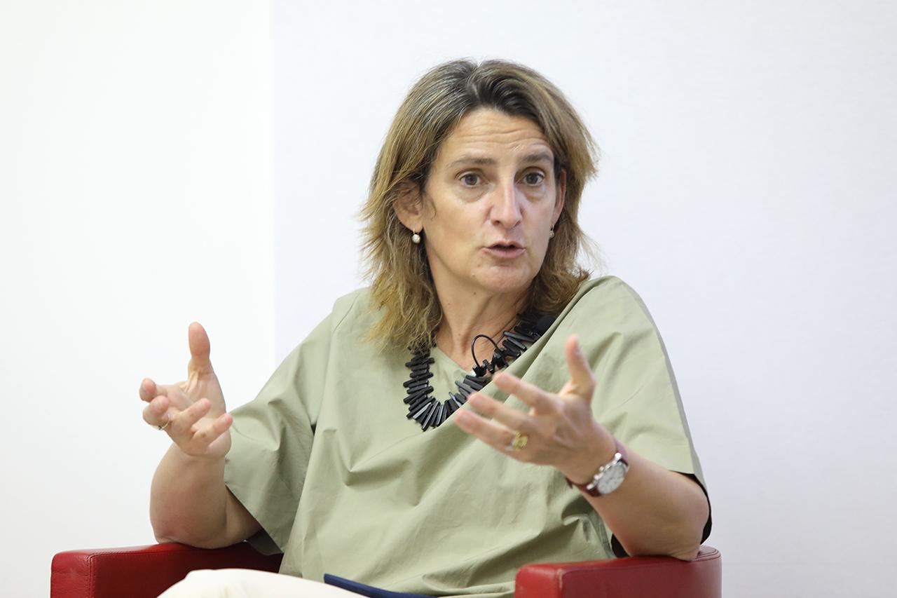 La ministra para la Transición Ecológica, durante el debate que siguió a su ponencia