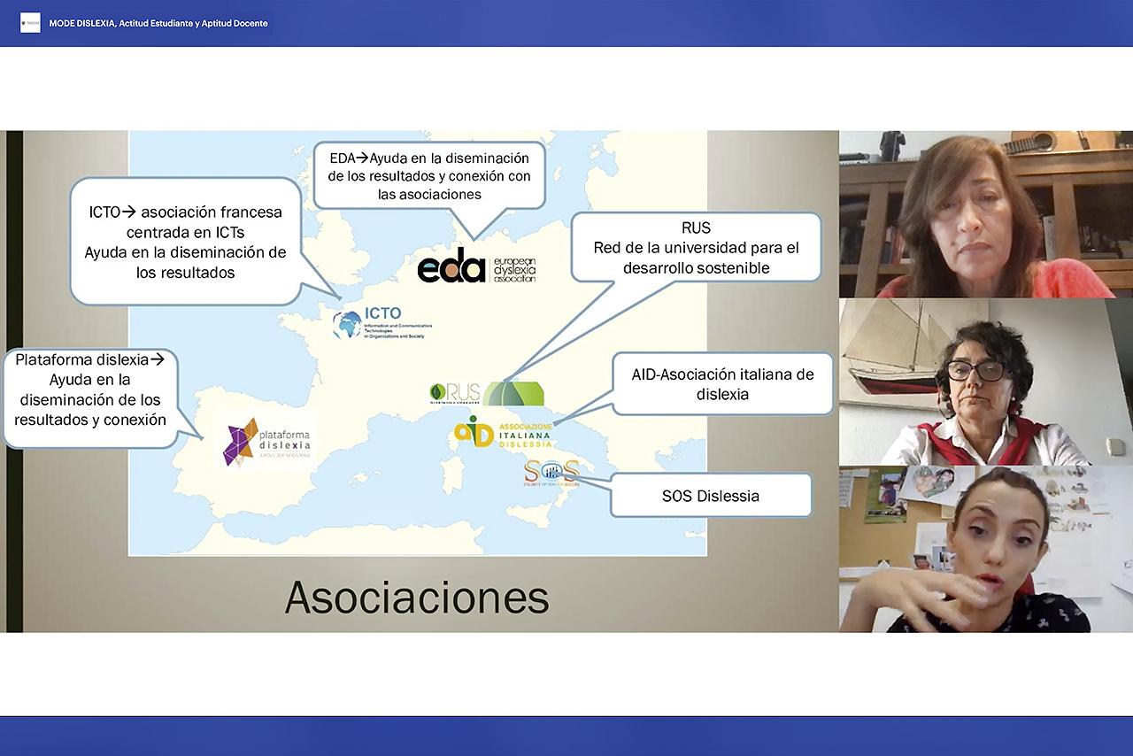 Esther López Carbajales, presidenta de la Plataforma Dislexia; Gloriana Hernández Plaza, gestora de la asociación Madrid con la Dislexia, y Sara Pinzi, profesora titular de la Universidad de Córdoba