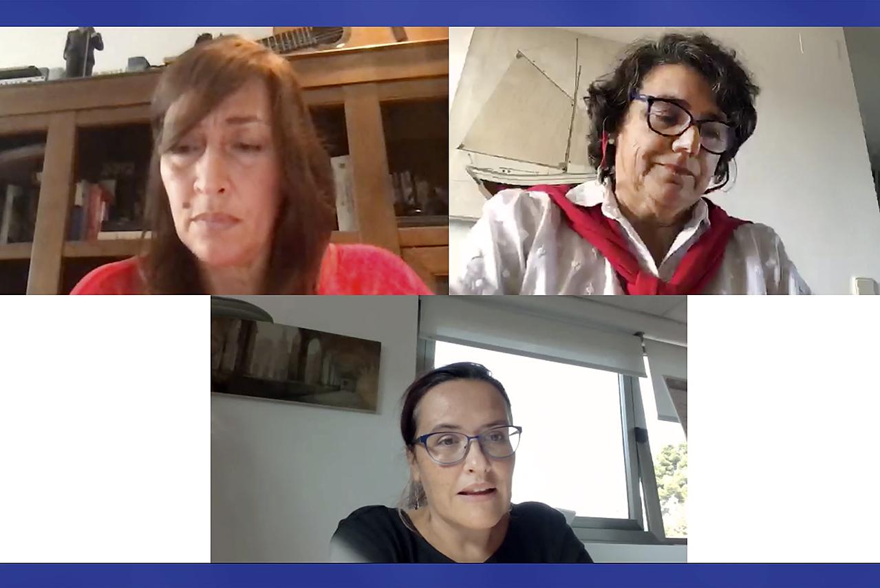 Esther López Carbajales, presidenta de la Plataforma Dislexia; Gloriana Hernández Plaza, gestora de la asociación Madrid con la Dislexia, y Rosa María de la Fuente Fernández, vicerrectora de Estudiantes de la Universidad Complutense
