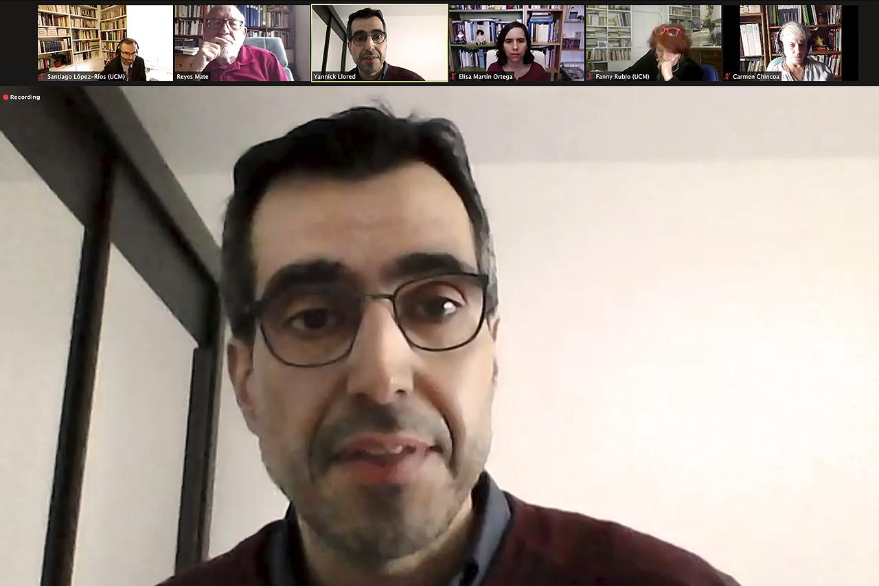 Yannick Llored, corresponsable del coloquio, junto a Santiago López-Ríos y profesor del Departamento de Español de la Universidad de Lorraine (Francia)