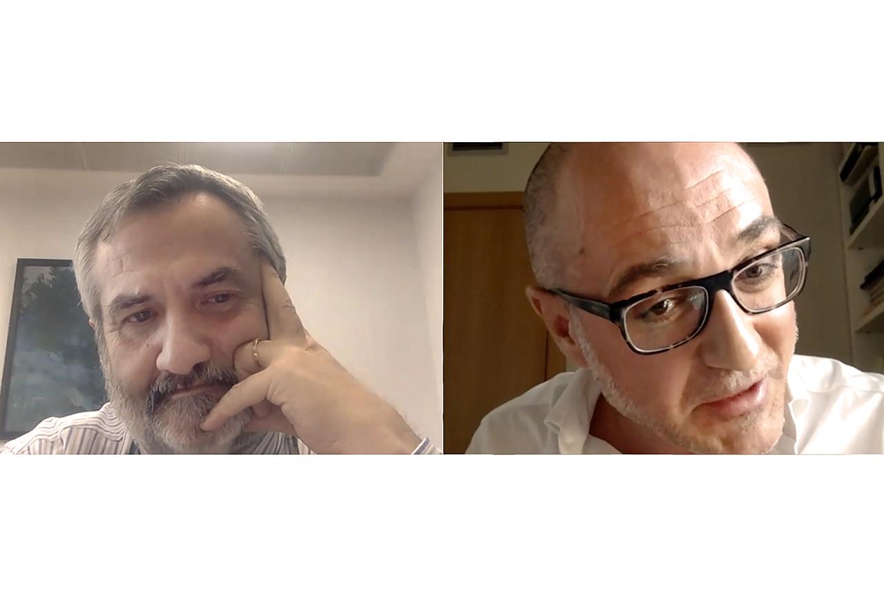 Jesús Pérez Gil, decano de la Facultad de Ciencias Biológicas, y Juan Antonio Valor, decano de la Facultad de Filosofía