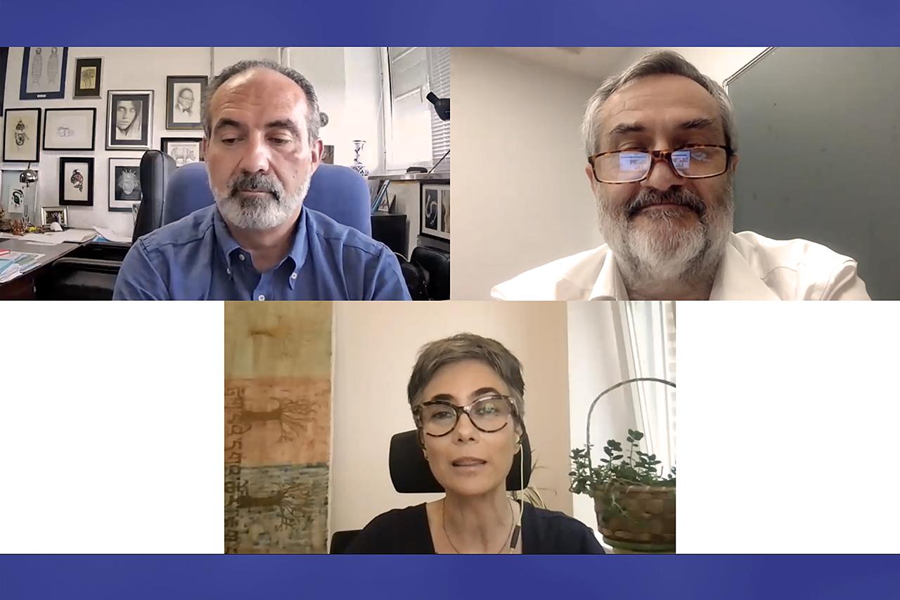 Fernando Pardos; el decano de Biológicas, Jesús Pérez Gil, y la vicedecana de Investigación, Cristina Sánchez