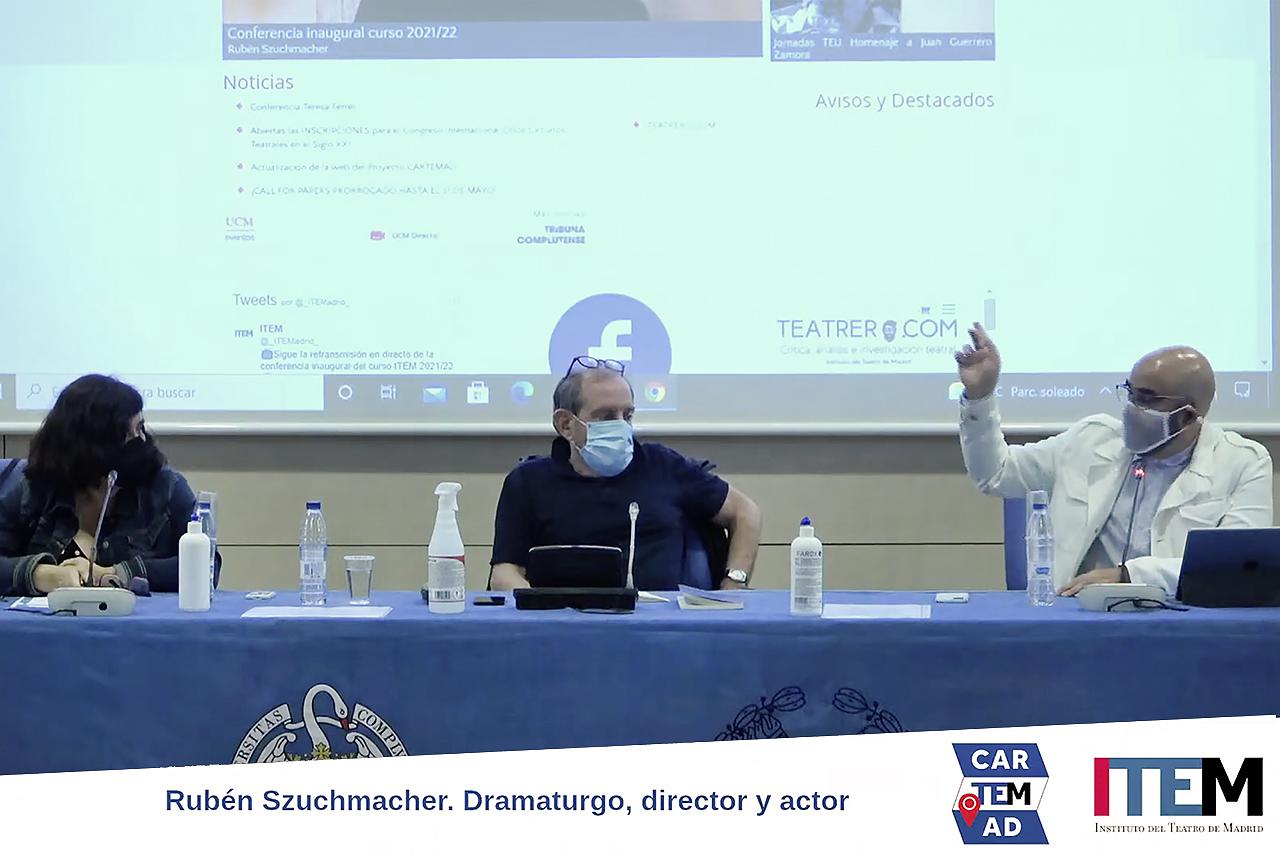 Cristina Bravo, Rubén Szuchmacher y Julio Vélez, en la inauguración del curso 2021-2022 del ITEM