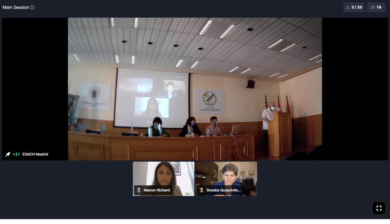 El salón de actos de la Facultad de Geografía e Historia durante la inauguración del ESACH Meeting Madrid 2021