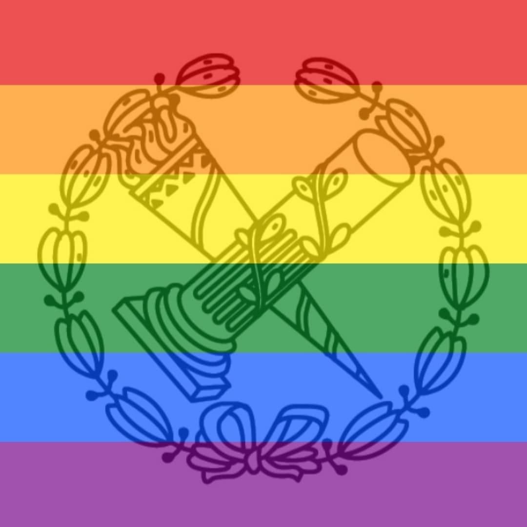 Logo de la Facultad de Geografía e Historia con los colores del Orgullo