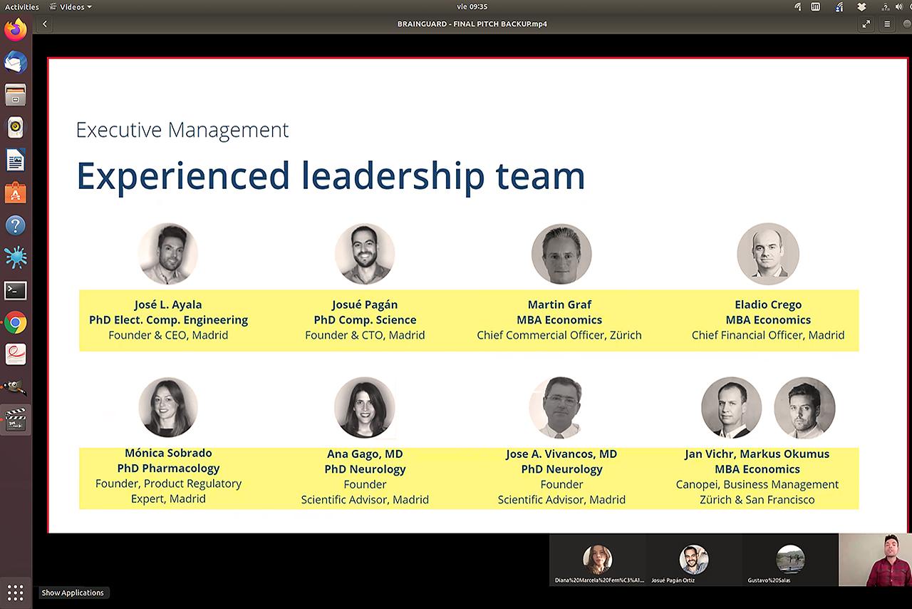 Miembros del equipo de Brainguard en el vídeo de presentación para el SantanderX Global Award