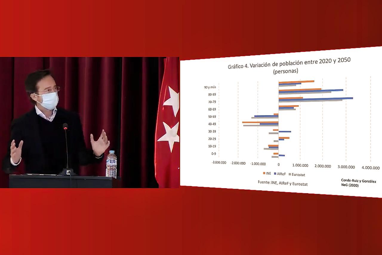 Captura de la retransmisión en streaming de la intervención de José Ignacio Conde