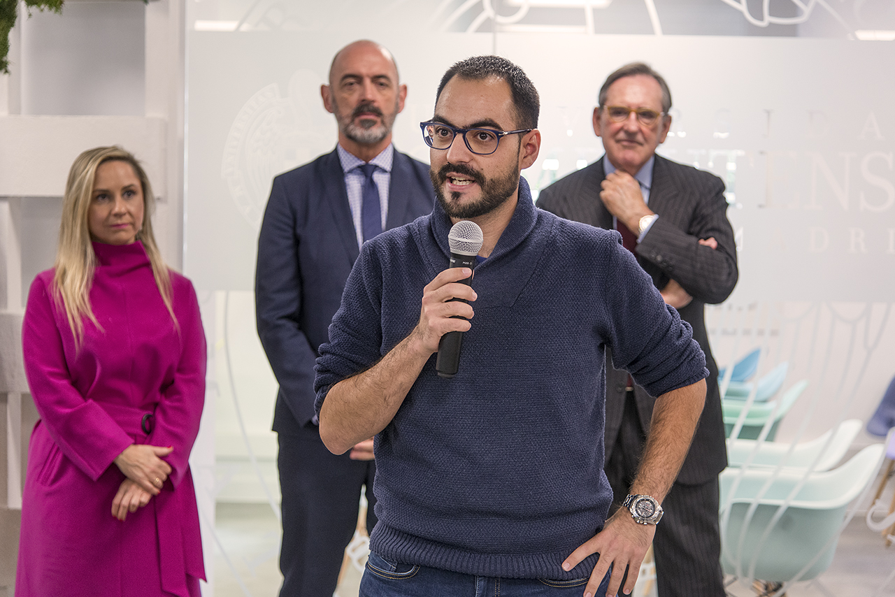 Josué Pagán presenta su proyecto en la inauguración del Centro de Emprendimiento Complutense-Santander, el pasado mes de octubre de 2019